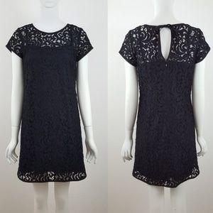 Ann Taylor loft Blue Black Lace Crochet Dress 8p 8